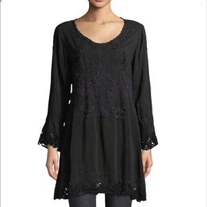 Johnny Was Black Embroidered Long Sleeve Tunic XXL